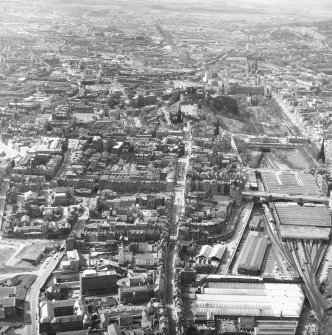 Aerial view of area surrounding Royal Mile, incorporating Castle, Castlehill, Lawnmarket, High Street, Canongate, Waverley Station, Cowgate, North and South Bridge and Princes Street