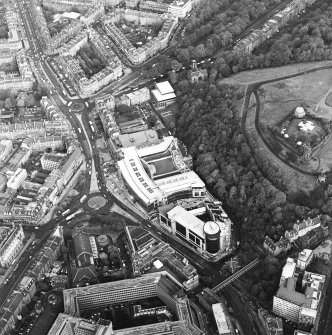 Oblique aerial view of Greenside Place, with the observatory and Cathedral adjacent, taken from the SW.