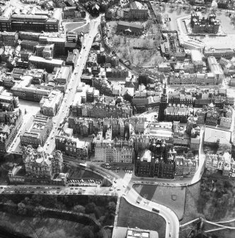 Aerial view of Castlehill and Lawnmarket