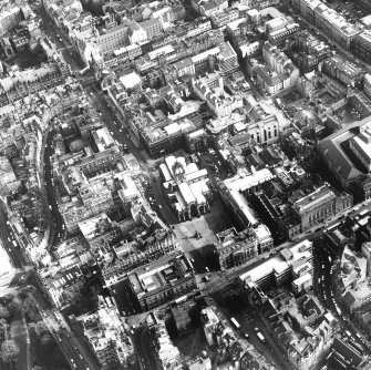 Aerial view of centre of Edinburgh including Lawnmarket at bottom of photograph, Cockburn Street at left, South Bridge at top and National Library of Scotland, George IV Bridge at right