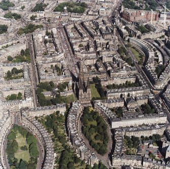 Edinburgh, oblique aerial view, taken from the WSW, centred on St Mary's Episcopal Cathedral.