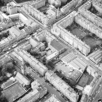 Aerial view showing the rear of the building prior to renovation to house RCAHMS seen from the East South East.