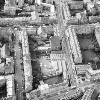 Aerial view of the building prior to renovation to house RCAHMS seen from the North East.