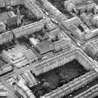 Aerial view of the C&J Brown's warehouse building prior to renovation to house the RCAHMS seen from the North East.
