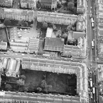 Aerial view of the C&J Brown's warehouse prior to renovation to house RCAHMS seen from the North North West.