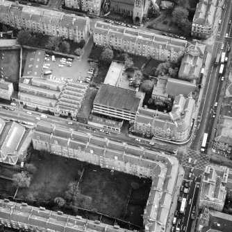 Aerial view of the building prior to renovation to house RCAHMS seen from the North West.