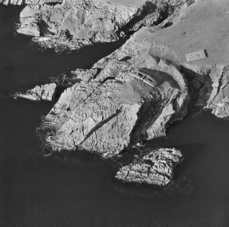 Oblique aerial view of Ness of Burgi.