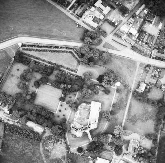Oblique aerial view of castle and surrounding area.