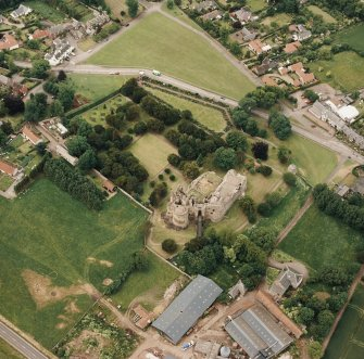 Dirleton Castle, oblique aerial view, taken from the ESE.