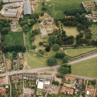 Dirleton Castle, oblique aerial view, taken from the N.