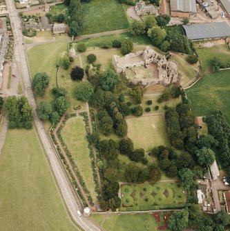 Dirleton Castle, oblique aerial view, taken from the WSW.