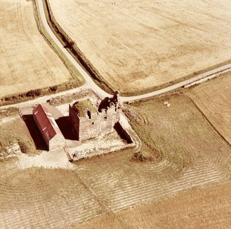 Oblique aerial view of Falside Castle.