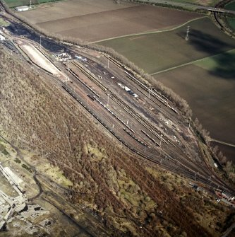 Oblique aerial view centred on the railway marshalling yard, taken from the SSW.