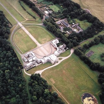 Oblique aerial view centred on Hopetoun House, taken from the NW