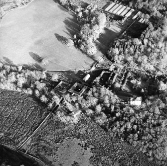 Oblique aerial view centred on the farmstead with the castle adjacent, taken from the W.
