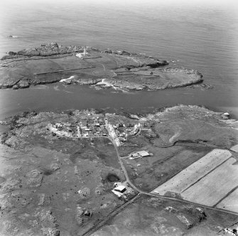 Aerial view of Port Weymss and Orsay, including Rhinns of Islay Lighthouse and Chapel.
