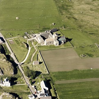 Oblique aerial view of Iona Abbey, taken from the south west, centred on the abbey.