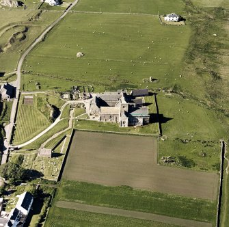 Oblique aerial view of Iona Abbey, taken from the south, centred on the abbey.