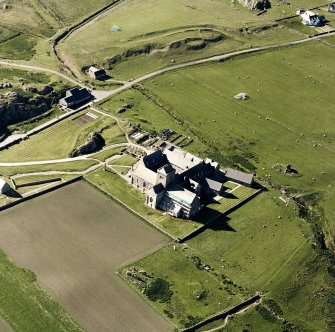 Oblique aerial view of Iona Abbey, taken from the south east, centred on the abbey.