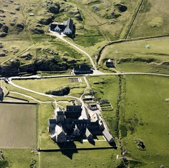 Oblique aerial view of Iona Abbey, taken from the east, centred on the abbey.