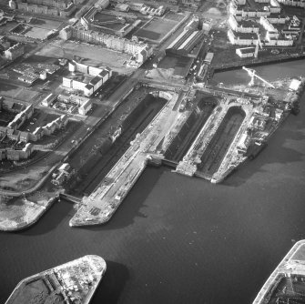 Glasgow, 18 Clydebrae Street, Govan Graving Docks. Oblique aerial view from East.