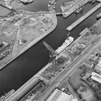 Greenock, James Watt Dock, oblique aerial view, taken from the W.