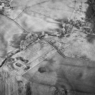 Oblique aerial centred on the remains of the anti-aircraft battery, taken from the W.