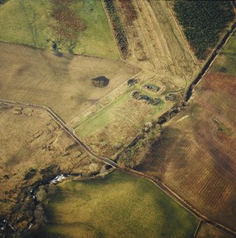 Oblique aerial centred on the remains of the anti-aircraft battery, taken from the ENE.