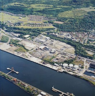 General oblique aerial view looking across the harbour towards Greenock, taken from the N.