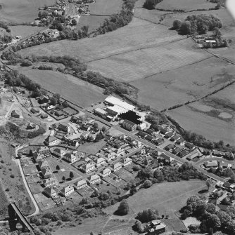 Aerial view of Greenbank Mill and the railway viaduct, taken from the WNW.