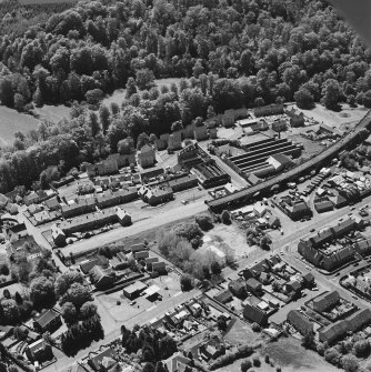 Aerial view of Newmilns railway viaduct and factories, centred on Union Street Factory, taken from the NE.