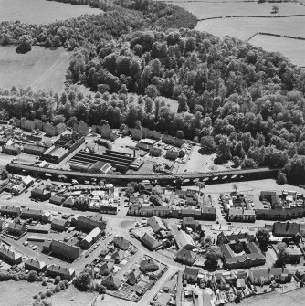 Aerial view of Newmilns railway viaduct and factories, centred on Union Street Factory, taken from the NNW.