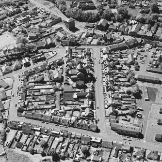 Aerial view of Bentinck Street Church and Barr Castle, taken from the E.