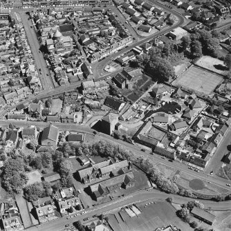 Aerial view of Barr Castle and Bentinck Street Church, taken from the W.