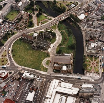 Oblique aerial view of Paisley centred on the abbey and town hall, taken from the NNW.