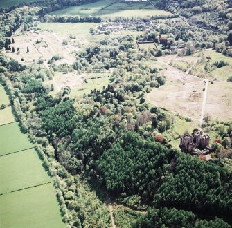 General oblique aerial view centred on the site of the hospital after the demolition of most buildings, taken from the WNW.