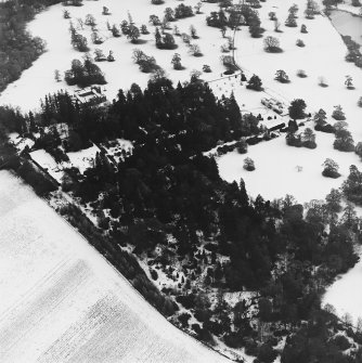 Abercairny House, oblique aerial view, taken from the NW, centred on the East walled garden.