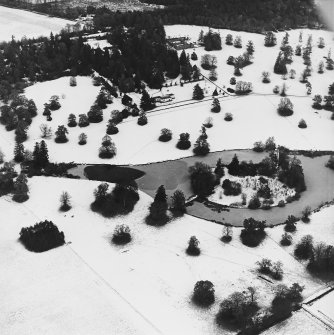 Abercairny House, oblique aerial view, taken from the SW, centred on the ponds.