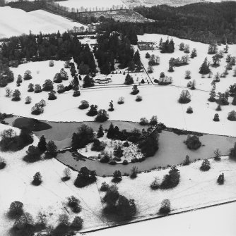 Abercairny House, oblique aerial view, taken from the S, centred on the ponds.