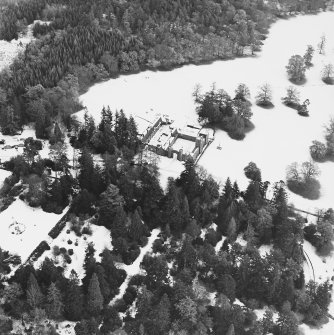 Abercairny House, oblique aerial view, taken from the W, centred on the stable block.