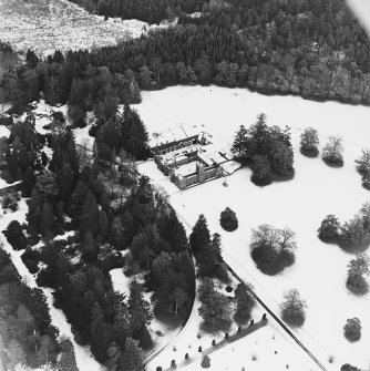 Abercairny House, oblique aerial view, taken from the SW, centred on the stable block.