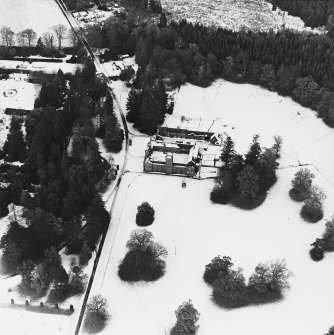 Abercairny House, oblique aerial view, taken from the SSW, centred on the stable block.