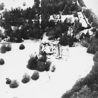 Abercairny House, oblique aerial view, taken from the ESE, centred on the stable block.