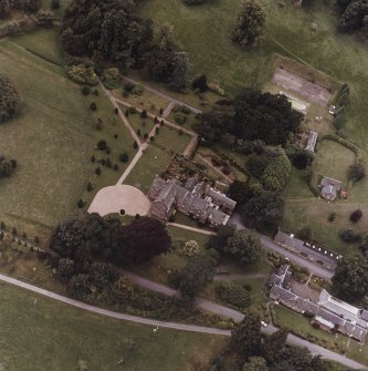 Fingask Castle. General aerial view showing castle, gardens, kennels.