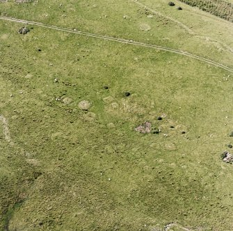 Oblique aerial view of Garbeg centred on the remains of square and round barrows in an area of hut-circles, small cairns and a field-system, taken from the E.