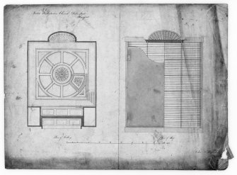 Glasgow, 176 Duke Street, United Presbyterian Church. Photographic copy of plans of ceiling and roof Insc:'United Presbyterian Church, Duke Street, Glasgow, Plan of Ceiling. Plan of Roof'.