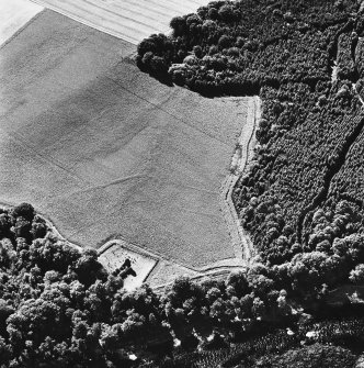 Cambusmichael, oblique aerial view, taken from the NE, centred on the cropmarks of the Grange. Cambusmichael Church is visible in the foreground.