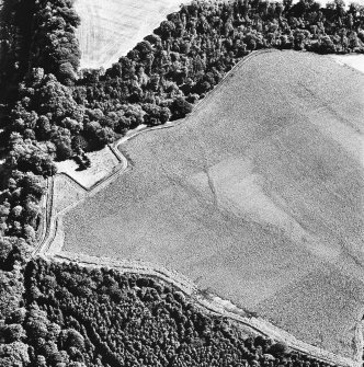Cambusmichael, oblique aerial view, taken from the WNW, centred on the cropmarks of the Grange. Cambusmichael Church is visible in the centre left of the photograph.