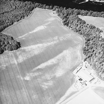 Cambusmichael, oblique aerial view taken from the S, centred on the cropmarks of two seperate enclosures, settlement traces and a grange.