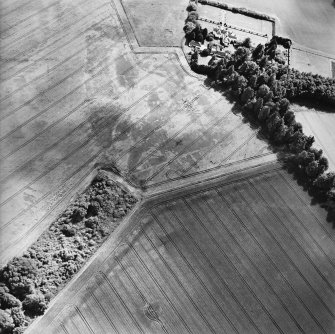 Oblique aerial view centred on the cropmarks with the house adjacent, taken from the NW.